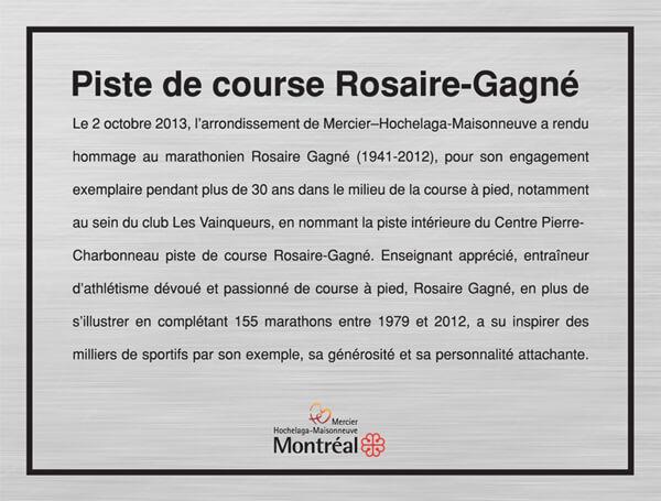 Plaque dédiée à Rosaire Gagné
